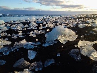 Sea sand sun and ice in Iceland