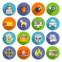 Hacker icons flat set