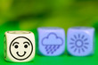 concept of summer weather - emoticon and weather dice on green b