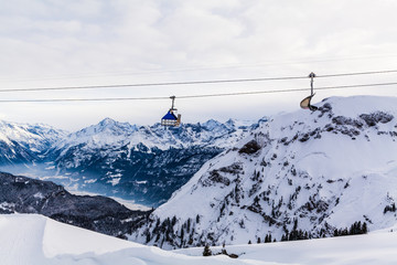 Mountains ski resort.  Cable car. Winter in the swiss alps. moun