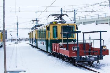 Train station in the Swiss Alps.  JUNGFRAU, SWITZERLAND. Mountai