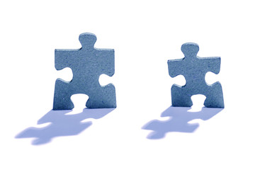 Two Jigsaw Puzzle Pieces on White