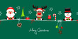 Card Santa, Rudolph & Snowman Symbols Green