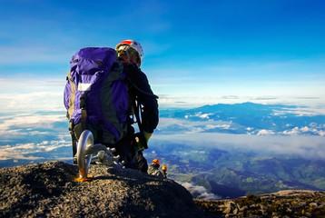 Climber Descending Mount Kinabalu
