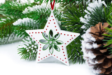 Christmas decorations on a background of fir branches