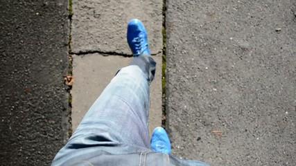 man goes on the street - feet