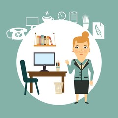 secretary on a workplace illustration