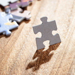 Closeup of Jigsaw Puzzle Piece on Table