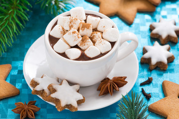 hot chocolate with marshmallows on a blue background, top view