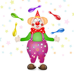 Cute happy birthday card with fun clowns