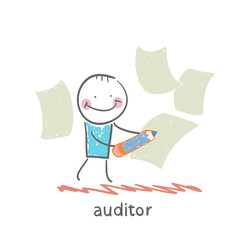 Auditor writes on a piece of paper