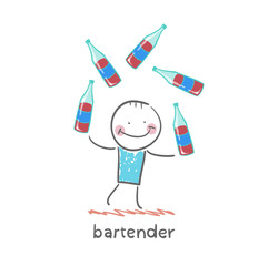 bartender juggling bottles of wine