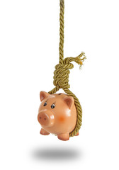 Piggy bank hanging on hangman noose over white