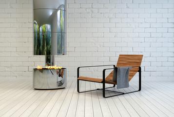 Contemporary recliner chair near an open fire