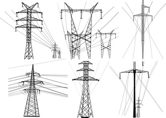 set of isolated electric pylons with wares