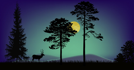 deer in dark night forest under moon