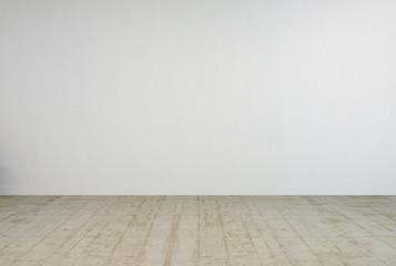 Empty white room interior with concrete floor