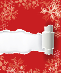 Red christmas background with torn paper