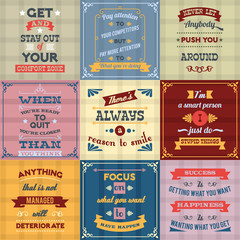 Success quotes set colored