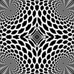 Monochrome abstract snakeskin background in op art design