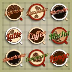 Coffee menu labels set