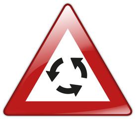 Button Patch Schild Achtung Kreisverkehr