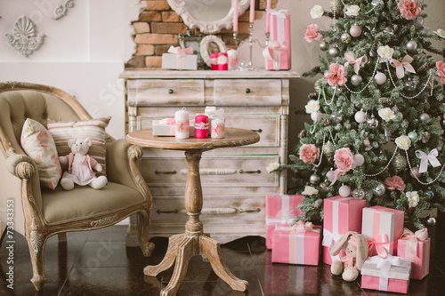 canvas print picture New Year's and Christmas interior in pink color 3