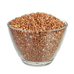 Buckwheat in glass bowl