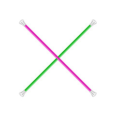 Two crossed twirling batons