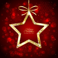 Christmas star with diamonds on red background