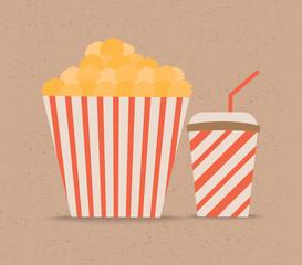 Popcorn and soda with straw