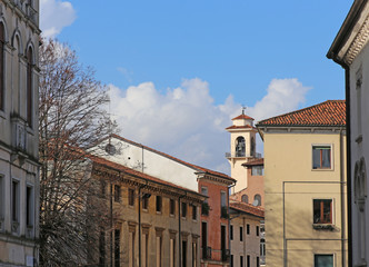Bell tower and houses of san marco quartier in vicenza italy