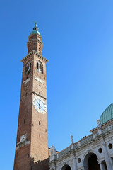 highest Tower of the Basilica Palladiana in Vicenza with blue sk
