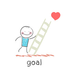 man climbs the stairs to the goal