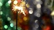 Fairytale Christmas composition with burning sparkler and decora