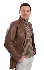 handsome man wearing leather jacket