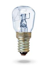 Old blue lightbulb over white
