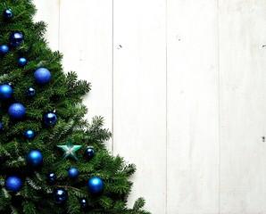 Blue ornament ball Christmas tree
