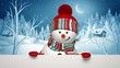 Christmas greeting card, snowman in winter village
