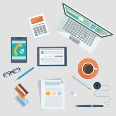 Concept of workplace with office devices and items