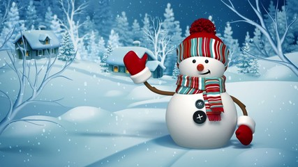 Christmas 3d snowman greeting card, winter landscape