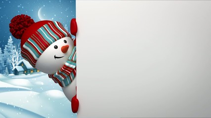 Christmas background, snowman winter landscape