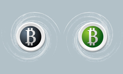 set of two icon with bit coin symbol