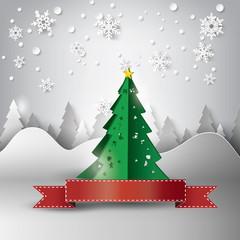 Paper snowflakes christmas tree
