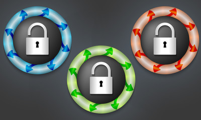 icons with color back light and padlock