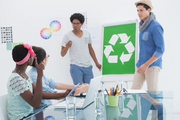 Young creative team having a meeting about recycling