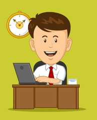 Cartoon Office Worker working on laptop at his desk
