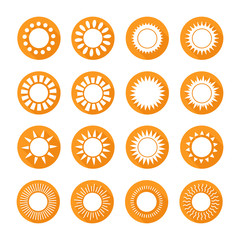 Set of sun web icons,symbol,sign in flat style. Suns collection
