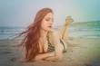 Sensual lady at the beach