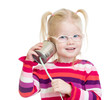 canvas print picture - Funny kid in eyeglasses with can as a telephone isolated